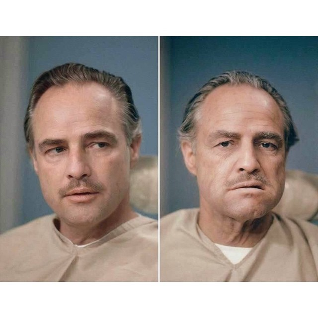 Marlon Brando before and after makeup for the Godfather.